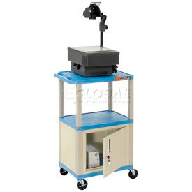 Plastic Utility Cart 3 Shelves Blue With Security Cabinet