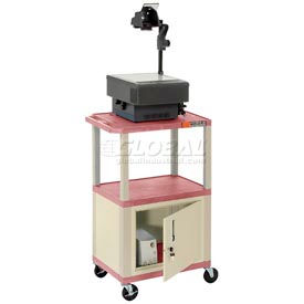 Plastic Utility Cart 3 Shelves Burgundy With Security Cabinet