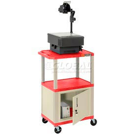 Plastic Utility Cart 3 Shelves Red With Security Cabinet