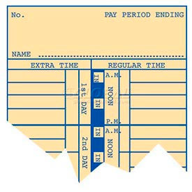 "Weekly Time Cards 10-1/2""H For Use With Time Recorder"
