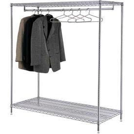 Garment Floor Coat Rack With 24 Hangers, 2-Shelf