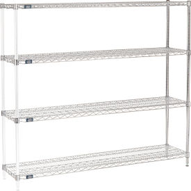 "63""H Nexel Chrome Wire Shelving Add-On - 72""W X 14""D"