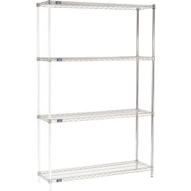 "74""H Nexel Chrome Wire Shelving Add-On - 48""W X 14""D"