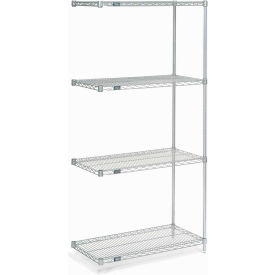 "74""H Nexel Chrome Wire Shelving Add-On - 36""W X 36""D"
