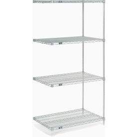 "74""H Nexel Chrome Wire Shelving Add-On - 60""W X 36""D"