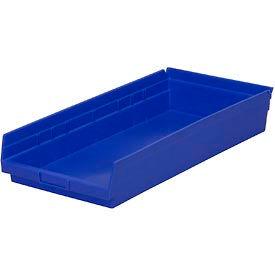 "Plastic Shelf Storage Bin - Nestable 11-1/8""W x 23-5/8"" D x 4""H Blue - Pkg Qty 6"