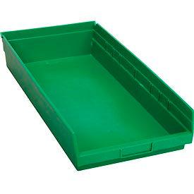 """Nesting Storage Bin - Plastic  11-1/8""""W x 23-5/8"""" D x 4""""H Green - Pkg Qty 6"""
