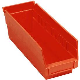 "Plastic Shelf Storage Bin - Nestable 4-1/8""W x 11-5/8""D x 4""H Red - Pkg Qty 24"