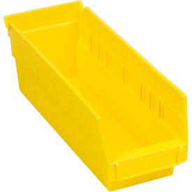 """Plastic Shelf Bin - 4-1/8""""W x 11-5/8""""D x 4""""H Yellow - Pkg Qty 24"""