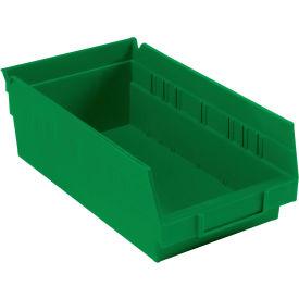 """Plastic Shelf Bin -  6-5/8""""W x 11-5/8"""" D x 4""""H Green - Pkg Qty 12"""