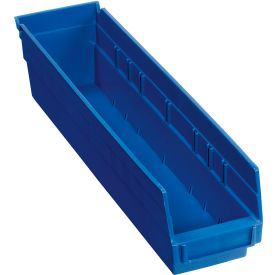 "Plastic Shelf Storage Bin - Nestable 4-1/8""Wx 17-7/8""D x 4""H Blue - Pkg Qty 12"
