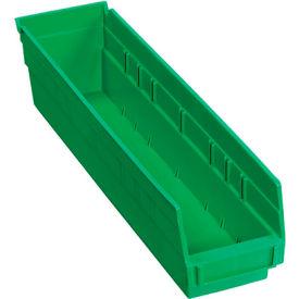 """Plastic Shelf Bin -  4-1/8""""W x 17-7/8""""D x 4""""H Green - Pkg Qty 12"""