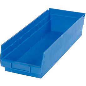 "Plastic Shelf Storage Bin - Nestable 6-5/8""W x 17-7/8"" D x 4""H Blue - Pkg Qty 12"