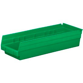 """Plastic Shelf Bin -  6-5/8""""W x 17-7/8"""" D x 4""""H Green - Pkg Qty 12"""