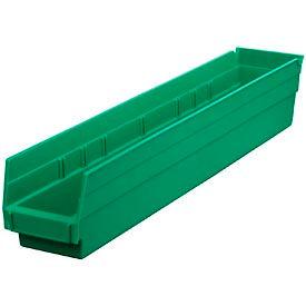 """Plastic Shelf Bin -  4-1/8""""W x 23-5/8"""" D x 4""""H Green - Pkg Qty 12"""
