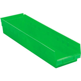 "Plastic Shelf Bin -  6-5/8""W x 23-5/8"" D x 4""H Green - Pkg Qty 6"