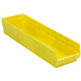 "Plastic Shelf Bin - 6-5/8""W x 23-5/8"" D x 4""H Yellow - Pkg Qty 6"