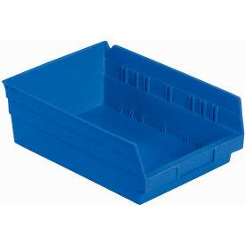 "Plastic Shelf Storage Bin - Nestable 8-3/8""W x 11-5/8"" D x 4""H Blue - Pkg Qty 12"