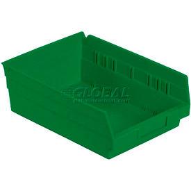 """Plastic Shelf Bin -  8-3/8""""W x 11-5/8"""" D x 4""""H Green - Pkg Qty 12"""