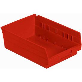 "Plastic Shelf Storage Bin - Nestable 8-3/8""W x 11-5/8"" D x 4""H Red - Pkg Qty 12"