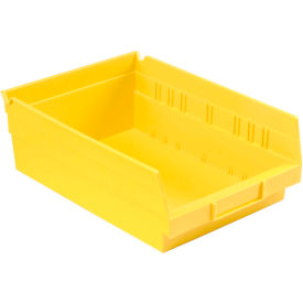 """Plastic Shelf Bin - 8-3/8""""W x 11-5/8"""" D x 4""""H Yellow - Pkg Qty 12"""