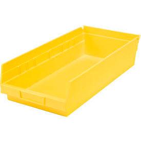 """Plastic Shelf Bin - 8-3/8""""W x 17-7/8"""" D x 4""""H Yellow - Pkg Qty 12"""