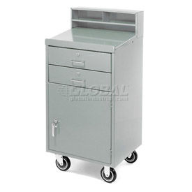 """Pucel Mobile Cabinet Shop Desk FED-2023 with 2 Locking Drawers 23""""W x 20""""D x 51""""H - Gray"""