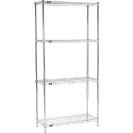 "86""H Nexel Chrome Wire Shelving - 42""W X 14""D"