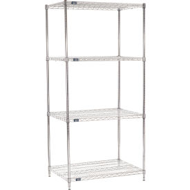 "86""H Nexel Chrome Wire Shelving - 42""W X 24""D"