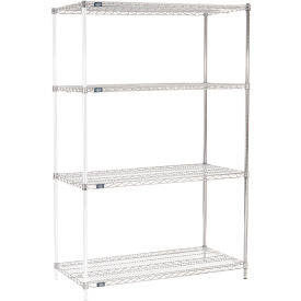 "74""H Nexel Chrome Wire Shelving Add-On - 48""W X 24""D"