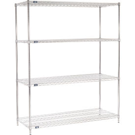 "74""H Nexel Chrome Wire Shelving - 72""W X 24""D"