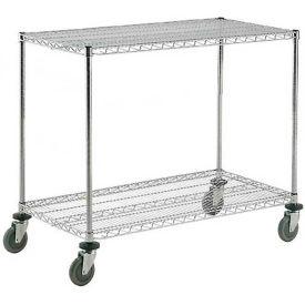 Nexel® Adjustable Chrome Wire Shelf Cart 48x24 2 Shelves 800 Lb. Capacity