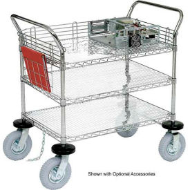 Nexel® Chrome Wire Shelf Instrument Cart 48x24 3 Shelves 1200 Lb. Capacity