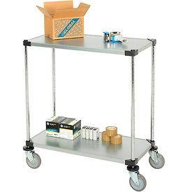 Nexel® Adjustable Solid Galvanized Shelf Cart 36x18 2 Shelves 800 Lb. Cap
