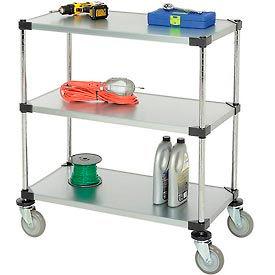 Nexel® Adjustable Solid Galvanized Shelf Cart 36x18 3 Shelves 800 Lb. Cap