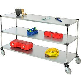 Nexel® Adjustable Solid Galvanized Shelf Cart 72x24 3 Shelves 800 Lb. Cap