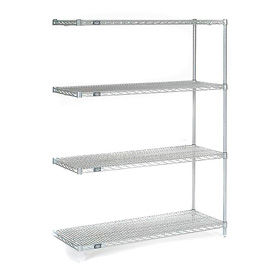 "Nexel Stainless Steel Wire Shelving Add-On 48""W X 18""D X 63""H"
