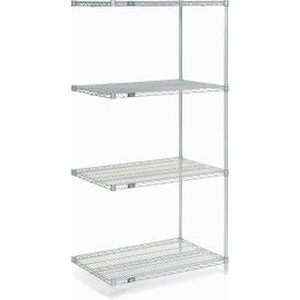 "Nexel Stainless Steel Wire Shelving Add-On 36""W X 18""D X 74""H"