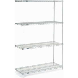 "Nexel Stainless Steel Wire Shelving Add-On 48""W X 18""D X 74""H"