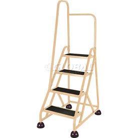 4 Step Aluminum Rolling Ladder, Beige - 1041-19-L