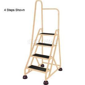 5 Step Aluminum Rolling Ladder, Beige - 1051-19-L