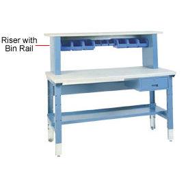 "60""L Workbench Riser with Bin Rail - Gray"