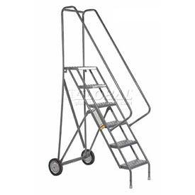 6 Step Steel Roll and Fold Rolling Ladder - Grip Strut Tread - KDRF106162