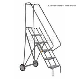 8 Step Steel Roll and Fold Rolling Ladder - Grip Strut Tread - KDRF108162