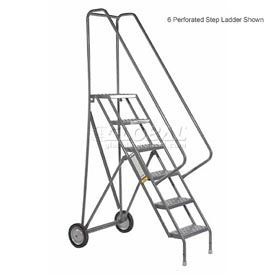 9 Step Steel Roll and Fold Rolling Ladder - Grip Strut Tread