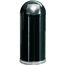 Rubbermaid® R1530EPL 12 Gallon Round Dome Top Waste Receptacle with Plastic Liner - Black