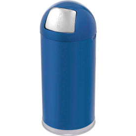 Rubbermaid® R1536EGL 15 Gallon Round Dome Top Waste Receptacle with Galvanized Liner - Blue