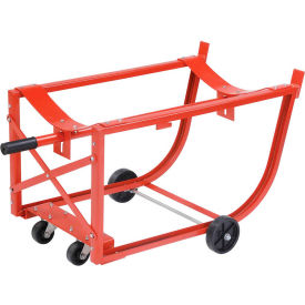"""Easy-Steer Drum Cradle with 5"""" & 3"""" dia. Polyolefin Wheels for 55 Gallon Steel Drums"""