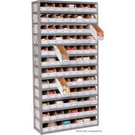 Steel Open Shelving with 96 Corrugated Shelf Bins 13 Shelves  - 36x12x73