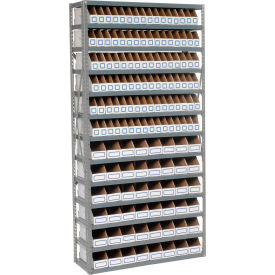 Steel Open Shelving with 144 Corrugated Shelf Bins 13 Shelves  - 36x12x73